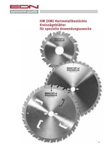 HW (HM) Hartmetallbestückte Kreissägeblätter für ... - EDN-Neuhaus