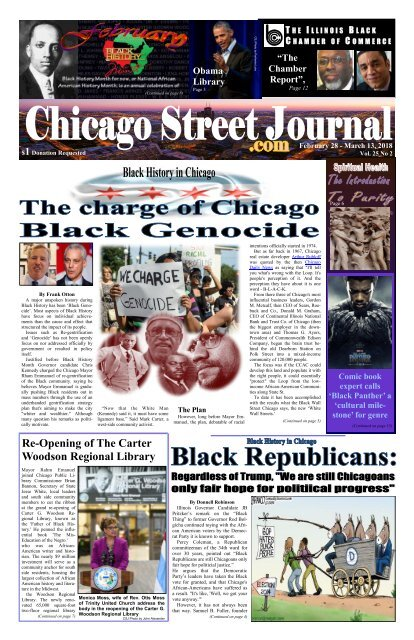 Black Genocide in Chicago - February 28, 2018 Edition of Chicago Street Journal.