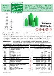 Chemie Ergänzungen | Chemie | Bachmann Lehrmittel