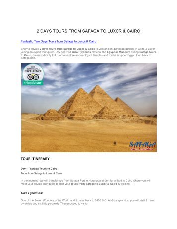 Fantastic Two Days Tours from Safaga to Luxor & Cairo