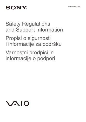 Sony SVS1311Q9E - SVS1311Q9E Documents de garantie Slovénien