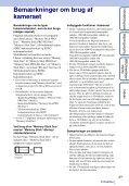 Sony DSC-TX9 - DSC-TX9 Istruzioni per l'uso Danese - Page 3