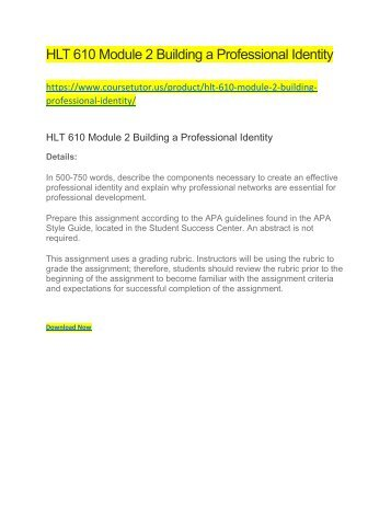 HLT 610 Module 2 Building a Professional Identity