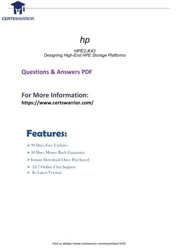HPE2-K43 Exams Study Guides 2018
