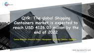 QYR: The global Shipping Containers market is expected to reach USD 4126.01 million by the end of 2022