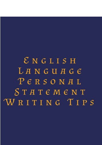 English Language Personal Statement Writing Tips