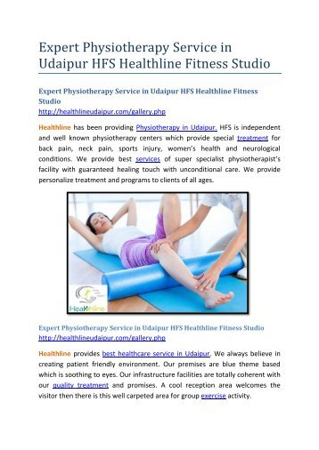 Expert Physiotherapy Service in Udaipur HFS Healthline Fitness Studio