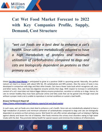 Cat Wet Food Market Forecast to 2022 with Key Companies Profile, Supply, Demand, Cost Structure