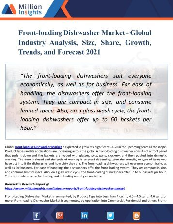 Front-loading Dishwasher Market - Global Industry Analysis, Size, Share, Growth, Trends, and Forecast 2021