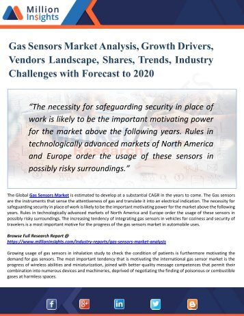 Gas Sensors Market Analysis, Growth Drivers, Vendors Landscape, Shares, Trends, Industry Challenges with Forecast to 2020