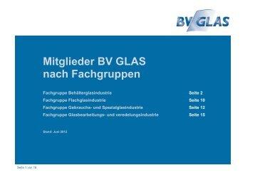 Mitglieder BV GLAS nach Fachgruppen