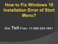 Fix Windows 10 Installation Error of Start Menu 1-800-220-1041