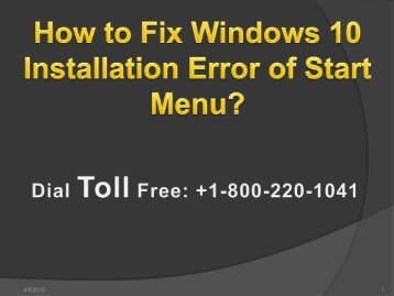 Fix Windows 10 Installation Error of Start Menu 1-800-220-1041