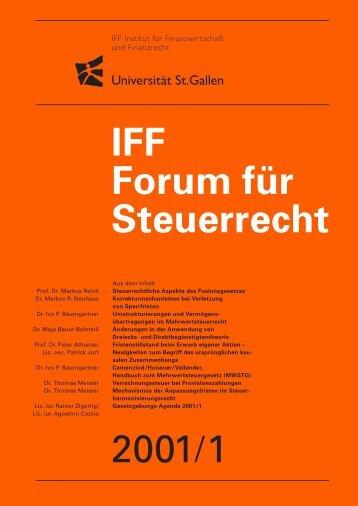 2001/1 IFF Forum für Steuerrecht - IFF - Universität St.Gallen