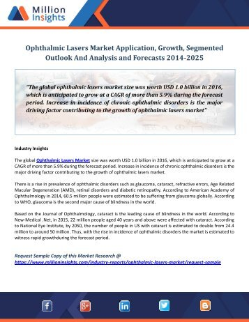 Ophthalmic Lasers Market Application, Growth, Segmented Outlook And Analysis and Forecasts 2014-2025