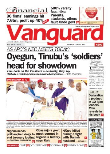 09042018 - AS APC'S NEC MEETS TODAY: Oyegun, Tinubu's 'soldiers' head for showdown