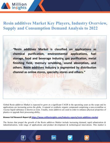 Resin additives Market Key Players, Industry Overview, Supply and Consumption Demand Analysis to 2022
