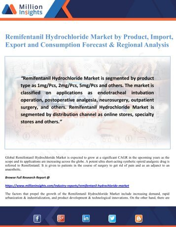 Remifentanil Hydrochloride Market by Product, Import, Export and Consumption Forecast & Regional Analysis