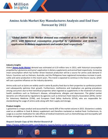Amino Acids Market Key Manufactures Analysis and End User Forcast by 2022