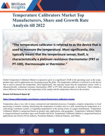 Temperature Calibrators Market Top Manufacturers, Share and Growth Rate Analysis till 2022