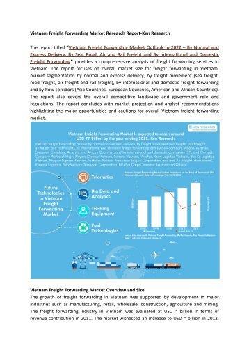 Vietnam Cargo Handling Market, Freight Consolidation Market Vietnam-Ken Research