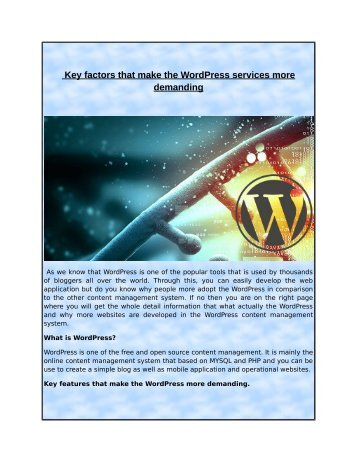 Key factors that make the WordPress services more demanding