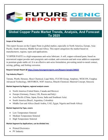 Global Copper Paste Market Expected to Grow Due To Rising Demand in Applications Like Printed Electronics, PV Industry By 2025