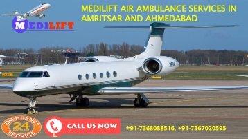Medilift air ambulance services in Amritsar and Ahmedabad