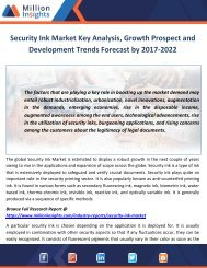 Security Ink Market Key Analysis, Growth Prospect and Development Trends Forecast by 2017-2022
