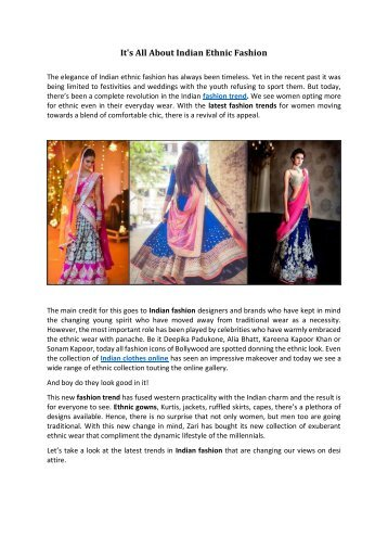 It's All About Indian Ethnic Fashion