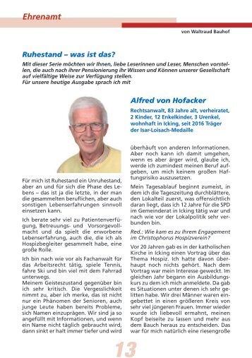 Ruhestand Alfred von Hofacker