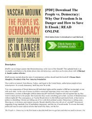 [PDF] Download The People vs. Democracy Why Our Freedom Is in Danger and How to Save It Ebook  READ ONLINE
