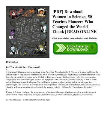 [PDF] Download Women in Science 50 Fearless Pioneers Who Changed the World Ebook  READ ONLINE