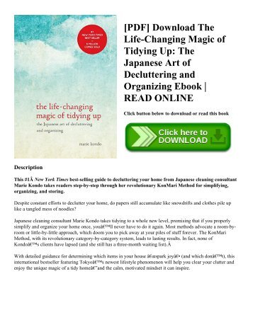 [PDF] Download The Life-Changing Magic of Tidying Up The Japanese Art of Decluttering and Organizing Ebook  READ ONLINE