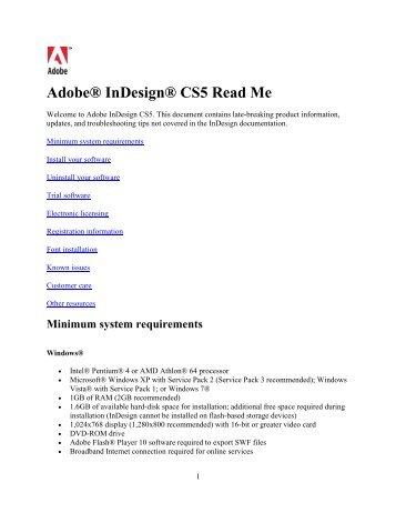 InDesign CS5 Read Me
