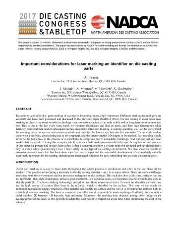 Important Considerations for laser marking an identifier on die-casting