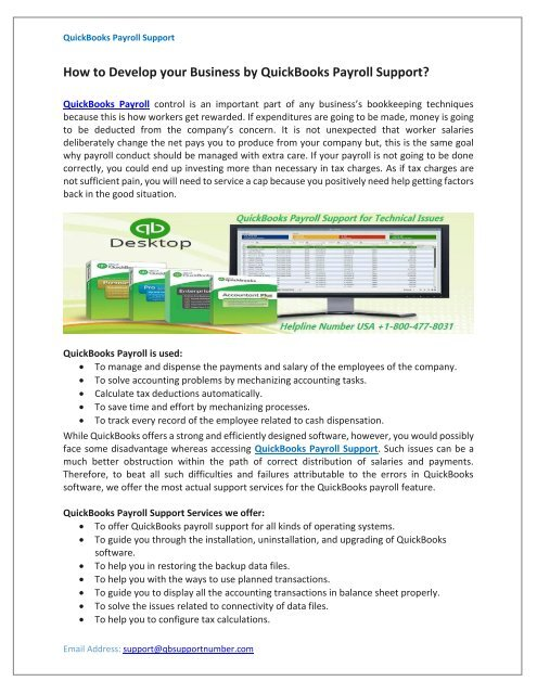 How to Develop your Business by QuickBooks Payroll Support