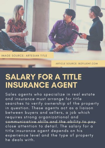 SALARY FOR A TITLE INSURANCE AGENT