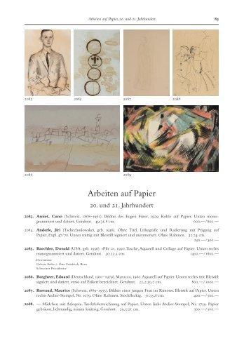 Arbeiten auf Papier, 20. und 21. Jahrhundert