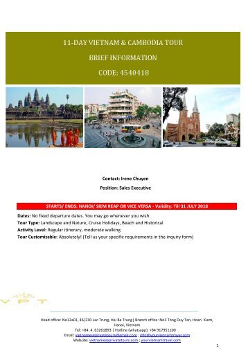 11 day vietnam and Cambodia tours