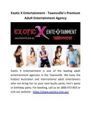 Exotic X Entertainment - Townsville's Premium Adult Entertainment Agency