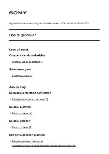 Sony FDR-X1000VR - FDR-X1000VR Manuel d'aide Néerlandais