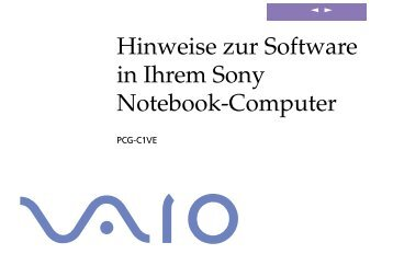 Sony PCG-C1VE - PCG-C1VE Manuale software Tedesco