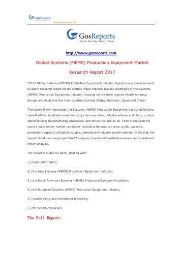 Global Systems (MEMS) Production Equipment Market Research Report 2017
