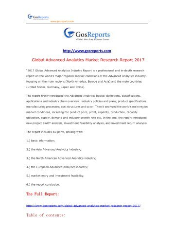 Global Advanced Analytics Market Research Report 2017