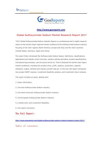 Global Sulfosuccinate Sodium Market Research Report 2017