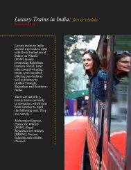 Luxury Trains in India - fares & schedules - season 2018-19