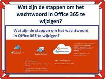 Wat zijn de stappen om het wachtwoord in Office 365 te wijzigen?
