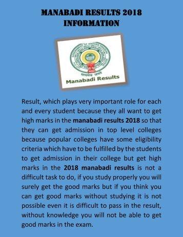 Manabadi Results 2018 Information