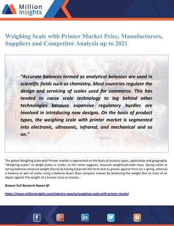 Weighing Scale with Printer Market Price, Manufacturers, Suppliers and Competitor Analysis up to 2021
